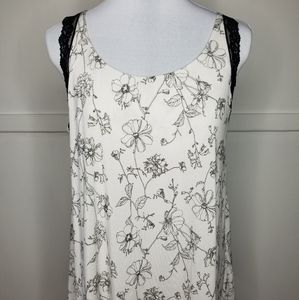 Soma Black &White Floral Sleep Top w/Black Lace